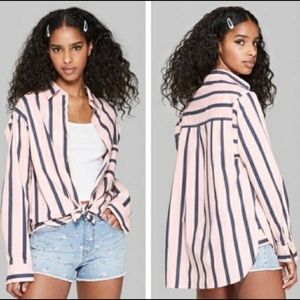WILD FABLE Long Sleeve Pink and Blue  Shirt sz M